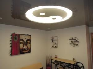 Salon avec rosace - plafond-tendu